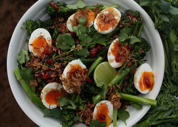 Charred Baby Broccoli and Soft Egg Salad