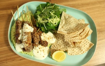 Lamb Kofta with Green Pea Hummus and Spring Salad