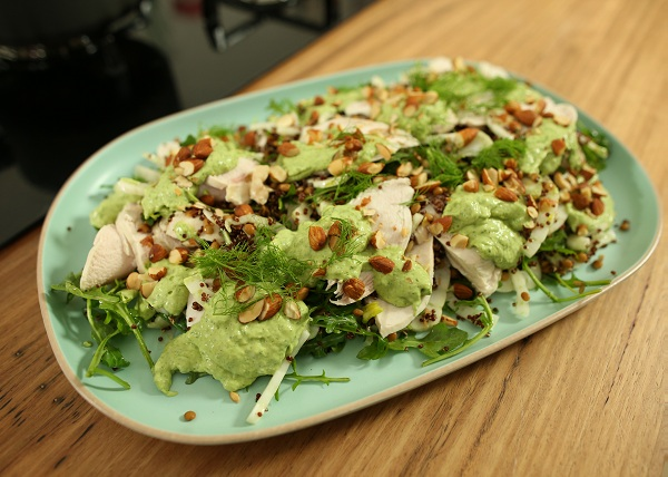 Poached Chicken Salad with Green Goddess Dressing