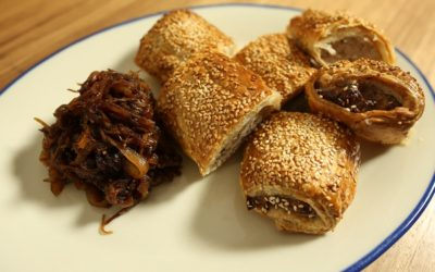 Pork, Apple and Fennel Sausage Rolls with Onion Relish