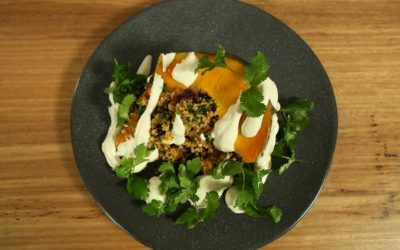 Spiced Stuffed Roast Pumpkin with Lemon Tahini Dressing