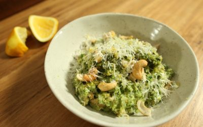 Spring Quinoa Risotto with Grilled Chicken and Cashew Pesto