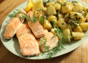 Baked salmon with vinigerette with mustard potato salad recipe - The Cooks Pantry