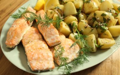 Baked Salmon with Warm Potato Salad