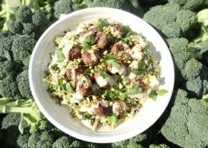 Broccoli _ Pistachio Tabouleh with Spiced Meatballs recipe - The Cooks Pantry
