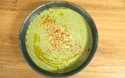 Broccoli and Chickpea Soup w/ Pinenut Dukkah