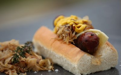 Hot Dogs with Sauerkraut and Swiss cheese