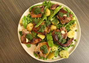 Seared Lamb Chops w Pea Salad _ Mint Pistou recipe - The Cooks Pantry