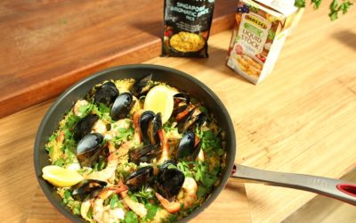 Cheat's Paella Rice With Chicken And Seafood