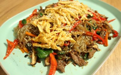 Japchae with Black Bean Beef