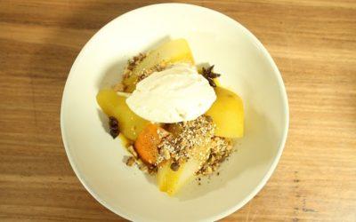 Saffron Poached Pears & Dukkah