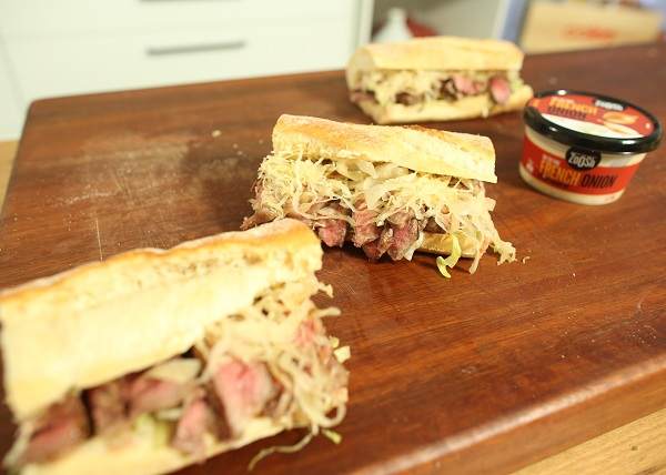 Steak Sandwhich with French Onion Dip and Sauerkraut recipe - The Cooks Pantry
