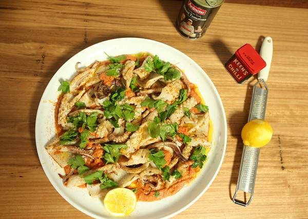grilled Squid with spicy tom romesco sauce recipe - The Cooks Pantry