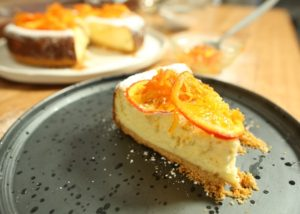 Baked Lemon Cheesecake with Tangelo jam and candied tangelo recipe - The Cooks Pantry