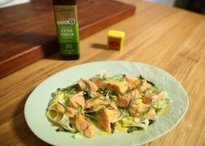 Confit Salmon w Asparagus, Fennel and Hot Mustard Dressing recipe - The Cooks Pantry