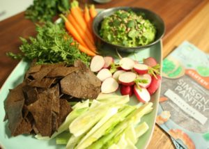 Green Pea Gucacamole with Black rice chips recipe - The Cooks Pantry