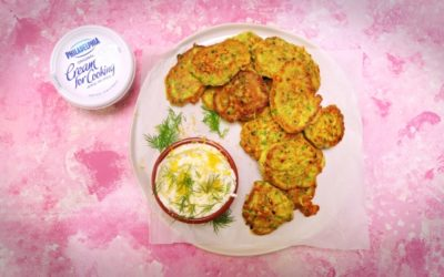 Pea, Feta & Lemon Fritters With Dill Yoghurt