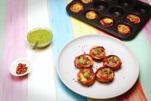 2215 Bacon and Egg Cups with Sunflower Seed and Basil Pesto recipe - the cooks pantry
