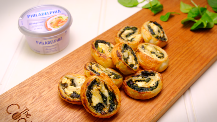 Spinach and Three Cheese Pin Wheels