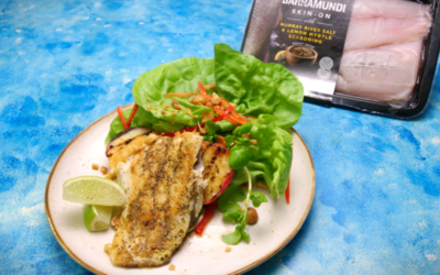Barramundi With Grilled Peach Salad