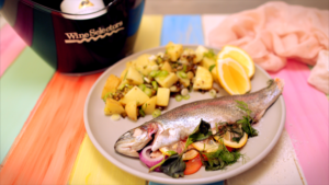 Baked stuffed trout w potato salad recipe - the cooks pantry