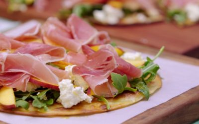 Summer Peach and Proscuitto Pizza