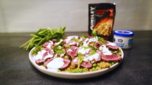 2170 Grilled Lamb with Pea and Feta Cous Cous recipe - the cooks pantry