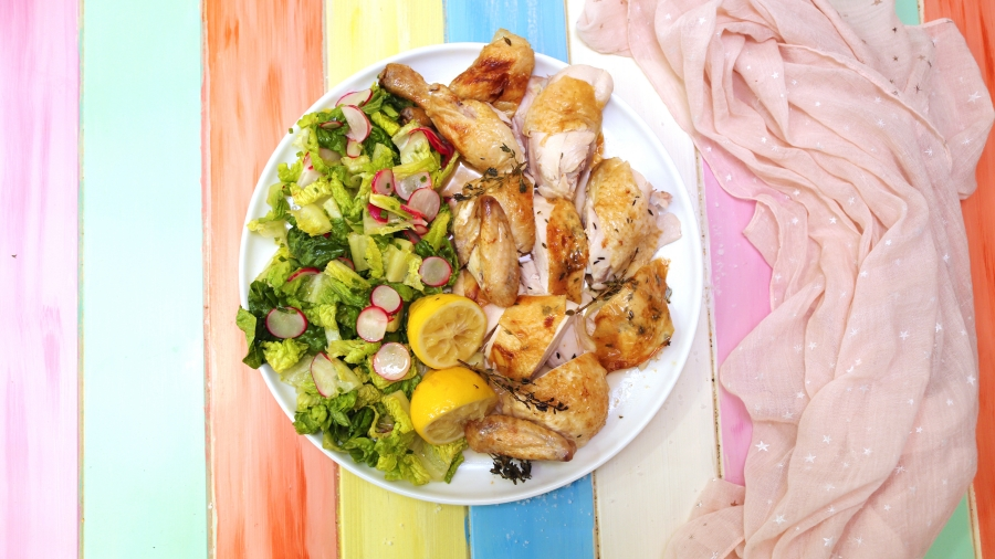 Roast Chicken with Cos and Radish salad