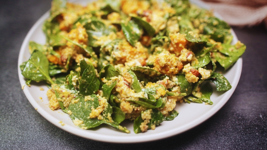 Pumpkin Spinach and Ricotta Cous Cous