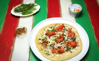 Smoked Ocean Trout and Cream Cheese Pizza