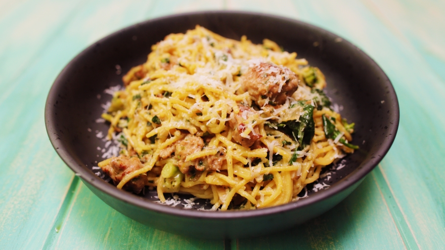 Sausage Broccoli and Walnut Pesto Spaghetti