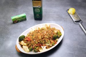 2092 Cauliflower and Broccoli Bake with Green Olive Crumb recipe - the cooks pantry