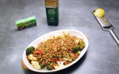 Cauliflower and Broccoli Bake with Green Olive Crumb