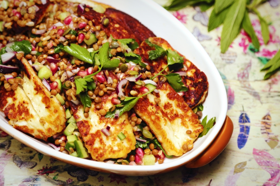 Lentil and Haloumi Chopped Salad