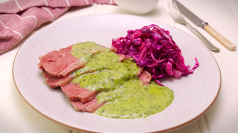 Corned Beef with Green Sauce and Pickled Cabage