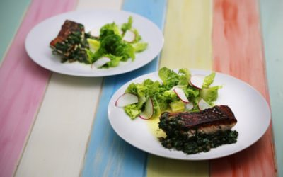 Crispy Skin Barramundi with Herb Butter and Salad
