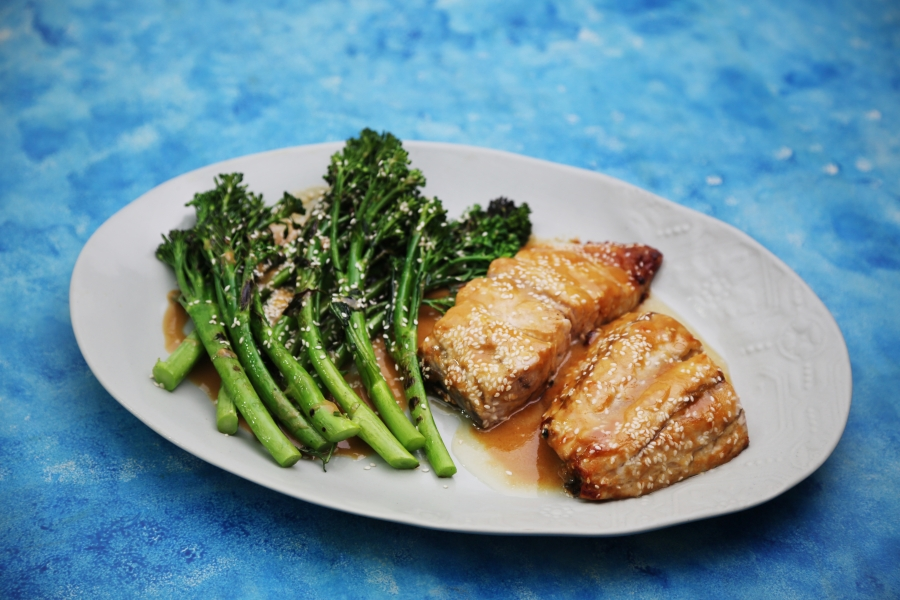 2291 Miso Baked Barra w Grilled baby Broccolini recipe - the cooks pantry