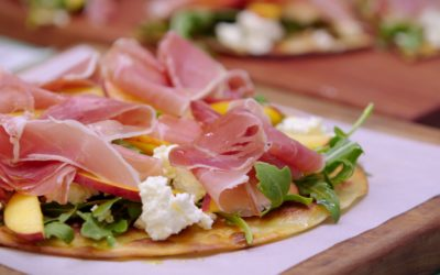 Summer Peach and Prosciutto Pizza